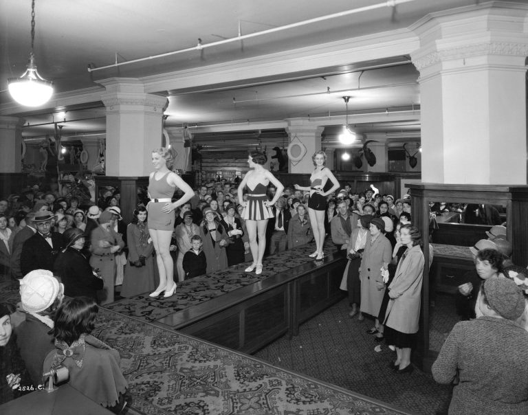 A swim suit fashion show at the Hudson's Bay Company May 31, 1932