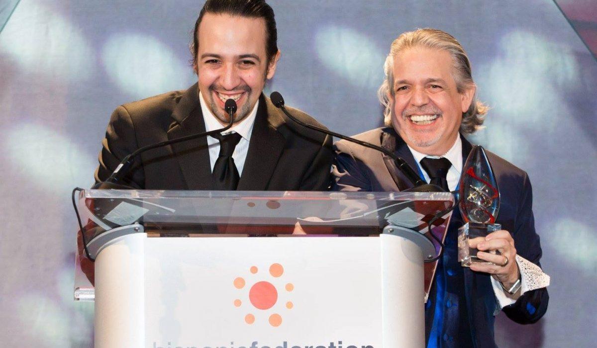 Lin-Manuel y Luis Miranda en la Gala Aniversario de Hispanic Federation 2015. Fuente: Hispanic Federation