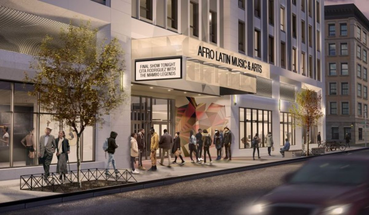 Rendering-illustrates-pedestrian-entryway-and-marquee-at-the-new-Afro-Latin-Music-and-Arts-ALMA-Center