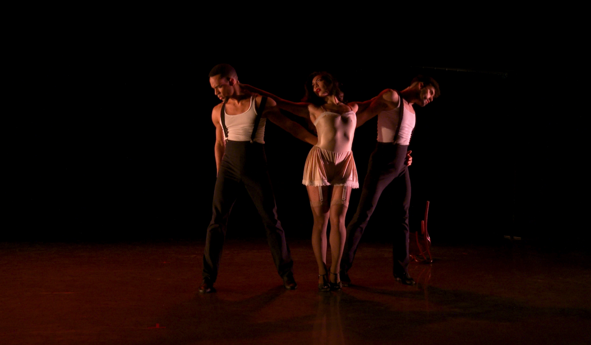 Ballet Hispánico's Lyvan Verdecia, Shelby Colona, and Antonio Cangiano in Cada Noche. . .Tango | Screenshot from the 50th Celebration filmed by Nel Shelby Productions